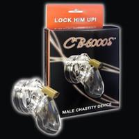 männliches keuschheitsgürtel produkt großhandel-Klare Kunststoff Keuschheitsgürtel Keuschheitsgürtel Cock Cage Adult Sex Produkte für Männer Anti-Masturbation CB6000S
