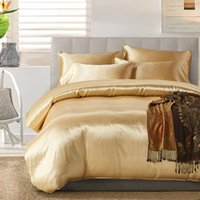 Wholesale silk bedding set twin online - 7 Colors US UK Size Artificial Silk Twin King Size Bedding Sets Bed Sheets Queen Bedding Sets King Size Comforter Set