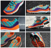 Wholesale breathable water - 2018 Mens 98 Gundam Men Running Shoes Joint Limited Sneakers Sports Shoe Orange purple lake water blue Gundams 98s Boost Athletic