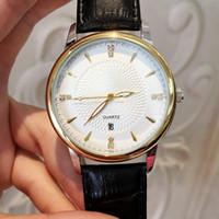 reloj sport hombre оптовых-2018 Мода человек кожаные часы с датой роскошные классические кварцевые часы розовое золото черный цвет спортивные наручные часы Orologio uomo Reloj hombre