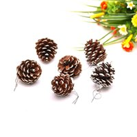 Wholesale natural linen paint - 9Pcs Set Christmas Pine Cones Christmas Gifts Tree Decoration Natural Pine Cone White Paint