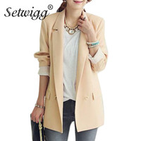 ce164b8969a31 SETWIGG Korean Style Women s Spring Double-breasted Collar Casual Loose Blazer  Office Lady Pockets Autumn Suit   Outwear