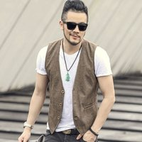 Wholesale clothes for weddings man for sale - Group buy 2018 new spring summer Khaki color single breasted cotton linen vest casual mens suit vest wedding waistcoat clothing casual Suit for men