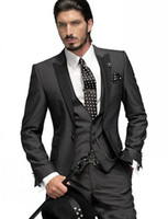 Wholesale grey custom made men suits online - Slim Fit One Button Groom Tuxedos Charcoal Grey Best Man Peak Black Lapel Groomsmen Men Wedding Suits Bridegroom Jacket Pants Tie Vest