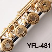 музыкальные флейты оптовых-Профессиональная Концертная Флейта YFL-481 17 Отверстий C Ключ Открытый Посеребренная Флейта Музыкальные Инструменты С Корпусом, Ткань Для Очистки