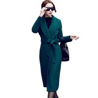 ingrosso high collar wool belt-Cappotto di lana autunno inverno Turn Down Collar donna Cappotto di lana medio lungo Cappotto trench di lana verde scuro con cintura XH589