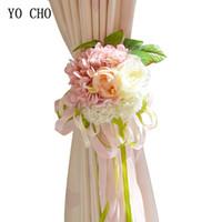 cinta decorativa flores al por mayor-venta al por mayor Pink Hydrangea peonía flores artificiales cinta azul rojo rosa decoración para casa boda casa de seda ramo de flores decorativas