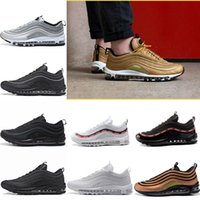 Wholesale Ladies Tennis - Newest Air 97 Running Shoes x Undefeated Gold Silver Bullet Triple white balck Japan Men womens Lady Boys Runner Sports Sneakers Eur 36-46