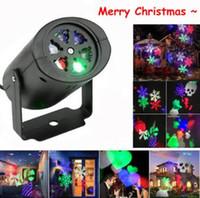 luces láser proyector de navidad al por mayor-Proyector de Copo de nieve LED Luz Proyector Láser de Navidad Luz Interior de Interior con 4 unids Patrón de Lente Conmutable Decoraciones de Jardín CCA10693 50 unids