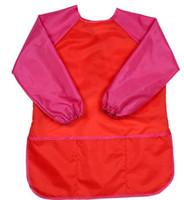 su geçirmez kılıf önlük toptan satış-Çocuk Önlükleri Önlük Giysi Çocuklar Su Geçirmez Boya Önlükleri Bebek Yeme Yeme Boyama Uzun Kollu Smock 5-7Years GGA735 için Uygun