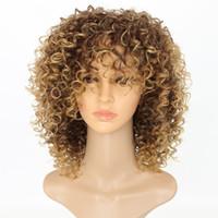 ingrosso parrucche ricci bionde nere-Parrucche crespi per donne nere Capelli sintetici biondi T27 / 30 Bionda Parrucca afro da 16 pollici
