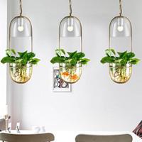 ingrosso vasi da fiore moderni-Sospensione in vetro moderna Sospensione creativa Vaso da fiori Lampada a sospensione per cucina Isola Sala da pranzo Camera da letto