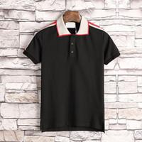 tasarımcılar polo gömlekleri toptan satış-Yeni Tasarımcı Polo Gömlek Erkekler Lüks Polo Rahat Erkekler Polo T Gömlek Yılan Arı Mektup Baskı Nakış Moda Yüksek Sokak Mens Polos