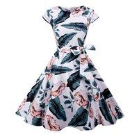vestidos grandes vintage venda por atacado-Saiqigui 2018 mulheres de manga curta de verão vestido Vintage A-line grande bainha o-pescoço Imprimir Hepburn vestido vestidos de festa