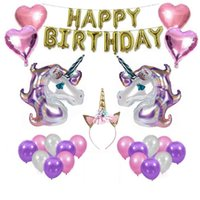 Wholesale latex balloon animals - Unicorn Party Supplies Set Headband Gift Pack Kit For Birthday Party Decorations Balloon Package Combination NNA306