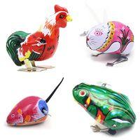 hayvan tenekeleri toptan satış-20 adet Çocuklar Klasik Kalay Rüzgar Kadar Clockwork Oyuncaklar Çocuklar için Atlama Kurbağa Vintage Oyuncak Hayvan Aksiyon Figürleri Oyuncak