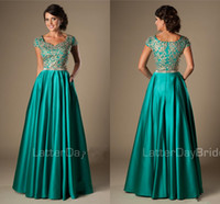 Wholesale modern college dress for sale - Group buy Turquoise Gold Appliques Modest Prom Dresses With Cap Sleeves Long A line Floor Length College Girls Classic Formal Evening Wear Gowns