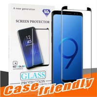 Wholesale package cover - For Samsung S9 S9 plus Case Friendly Tempered Glass Bubble Free Full Cover 3D Screen Protector For Samsung Note 8 S8 S7 With Package