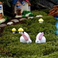 ingrosso miniatura bianca-Bianco Kawaii Coniglio Ornamento Pasqua Fata Giardino Miniature Mini Moss Terrari Resina Artigianato Figurine Per Decorazione Prato 0 15dd Y