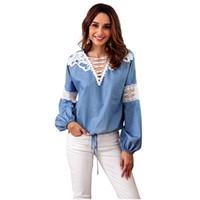 camisa de denim patchwork azul venda por atacado-Novo 2018 Outono Mulheres denim Blusa de Renda patchwork Oco fora Lanterna manga Solta camisas Femininas V neck Jeans Azul Blusas Tops