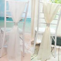 beyaz sandalye şapkaları toptan satış-Chic 2018 Beyaz / Fildişi Sandalye Sashes Düğün Parti Için Toka ile Düğün Sandalye Gelin Bambu Sandalye Dekorasyon Kapakları