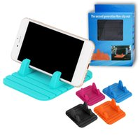 Wholesale mat for sale - Universal cell phone Car mount Holder Soft Silicone Desktop Anti Slip Mat phone Holder Stand Bracket With Package For smartphones GPS