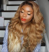 Wholesale straight lace front two tone - Full Lace Human Hair Wigs Ombre Two Tone 1B 27 Wavy Brazilian Virgin Hair 150 Density Natural Hairline Glueless Bleached Knots