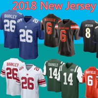 Wholesale giant xxl - New 26 Saquon Barkley York Giants Jersey Jets 14 Sam Darnold Browns 6 Baker Mayfield 17 Anthony Miller Football Jerseys