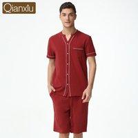 pijama camisa hombre al por mayor-2018 marca de verano homewear hombres pijama de estilo chino conjuntos de algodón para hombre Modal camisas de manga corta medio pantalones hombres ropa de dormir traje