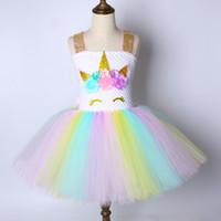 Wholesale child sequin vest resale online - Children Girls Unicorn Tutu Dress Rainbow Princess Kids Birthday Party Dress Girls Christmas Halloween Pony Cosplay Costume