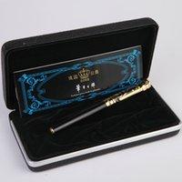 tinta da pena de fonte livre venda por atacado-Duke Luxo escrita do negócio de papelaria preto e 0,5mm Ouro Fountain Pen com gema azul no topo metal canetas de tinta frete grátis