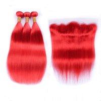 buntes reines brasilianisches haar großhandel-Reines brasilianisches reines rotes menschliches Haar spinnt mit stirnnahem seidigem gerade farbigem Rot-voller Spitze Frontal 13x4 mit 3 Bündeln