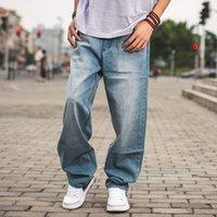 pantalones jogger azul hombre al por mayor-Primavera Otoño Hombres Baggy Blue Jeans Hombre Hip Hop Jogger Jeans sueltos Pantalones largos de skateboard para hombres Pantalones harén Tallas grandes 30-46