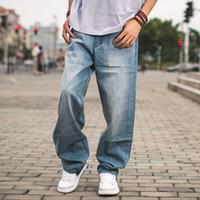 Wholesale baggy jeans fashion - Spring Autumn Men Baggy Blue Jeans Male Hip Hop Jogger Loose Jeans Long Skateboard Jeans For Men Harem Pants Plus Size 30-46