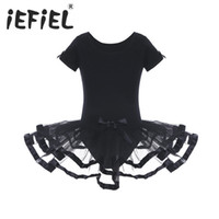ingrosso nero tutu 4t-Black Girls Mesh Ballet Flower Dance Ginnastica Body con Bowknots Ballerina Fancy Party Costumes Balletto Tutu Dress Y1891309