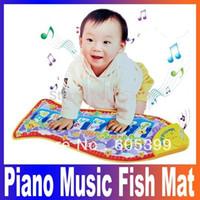 baby musik spiel matten großhandel-Noise Maker Fisch Tier Mat Klavier Musik Spiel Teppich Fashion Kid Kinder Educational Crawling Spiel Matte, Baby Spielzeug Decke