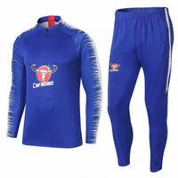 jerseys europeos de fútbol al por mayor-Men18 19 azul impreso manga traje de entrenamiento jersey de fútbol de los hombres traje de entrenamiento de fútbol tamaño europeo S a XL