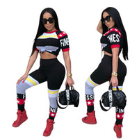 Wholesale hip hop suits girls - 2018 summer Letter star printed tracksuit crop top sets short sleeve T-shirt tee long pants Leisure suit hip-hop street sportswear new GIRLS