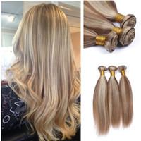 Wholesale weave color 27 mixed resale online - 8A Ombre brazilian hair mix color brazilian virgin hair straight brown blonde brazilian hair weave bundles for wedding
