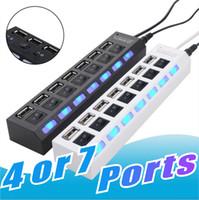 ports usb hub großhandel-Hohe Qualität 4 oder 7 Port USB-Erweiterung Splitter Hi-Speed USB 2.0 480 Mbit / s USB-Hub-Ports Kompatibel mit USB 1.1 / 1.0 Für Laptop-PC Kein Paket