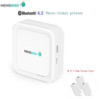 conector mini bluetooth al por mayor-Mini Impresora MEMOBIRD G3 Nuevo Bluetooth 4.2 Teléfono Portátil Impresora de Fotos Inalámbrica USB Micro Conector 3 Rollos Papel Térmico