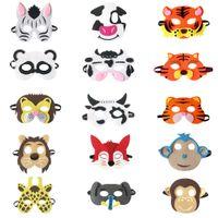 trajes de halloween tigre venda por atacado-20 estilo Máscara de Animal Kid feltro Máscara Do Partido Panda Raposa Vaca Tigre Cinza máscara do lobo Trajes de Natal do Dia Das Bruxas máscaras do disfarce partido favores presentes
