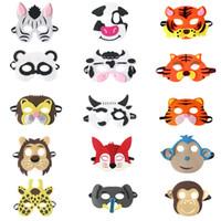 ingrosso maschera di lupo animale-20 stile Kid Animal Mask feltro Maschera per feste Panda Fox Cow Tiger Grey maschera lupo Halloween costumi di natale maschere mascherate partito favori regali