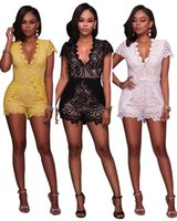 Wholesale Club Jumpsuits Women - Summer Flower Embroidery Printed Jumpsuits Women Curve Shapers Deep V Neck Bodysuit High Waist Lace Rompers For Night Club