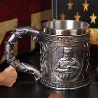 ingrosso regali di birra per gli uomini-3D Viking Skull Coffee Mug Beer Mug Personalizzato originale Skull Cup per Home Bar Birra Wine Drink Gift for Men Coffee Cup