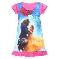 Wholesale beauty beast costume for kids resale online - Beauty with the beast Dress Girl Dress Summer Cotton Cartoon Printed Children Dress For Girl Kids Costume