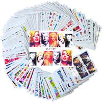 наклейки декор девушки оптовых-100pcs Nail Art Sticker Sets Mixed Full Cover Girl/Flower/Cartoon Decals for Polish Gem Nail Foils Art Decor TRSTZ134-233