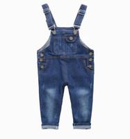 erkek kot pantolon genel toptan satış-Moda Çocuklar Denim Tulum 2 3 4 5 6 7 8 9 Yıl Çocuk Tulumları Kot Bahar Yaz Sonbahar Erkek Kız Kot Pantolon