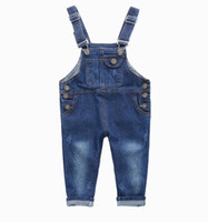 pantalones de jeans para niños en general al por mayor-Moda para niños Mono de mezclilla 2 3 4 5 6 7 8 9 Años Niños Monos Jeans Primavera Verano Otoño Niños Chicas Pantalones vaqueros