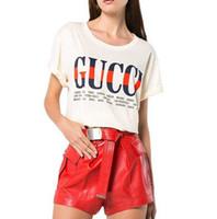bir omuz tatlı şifon elbise toptan satış-2018 Marka Yaz Kadınlar için Moda Giysileri Üstleri Mektup Baskılı Harajuku T Gömlek Kırmızı Siyah Kadın T-shirt Camisas Tees Bayanlar Tshirt